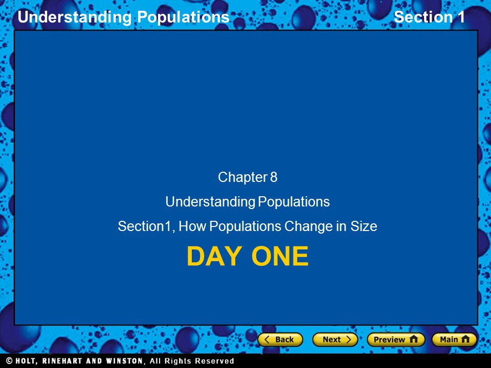 Understanding PopulationsSection 1 DAY ONE Chapter 8 Understanding Populations Section1, How Populations Change in Size