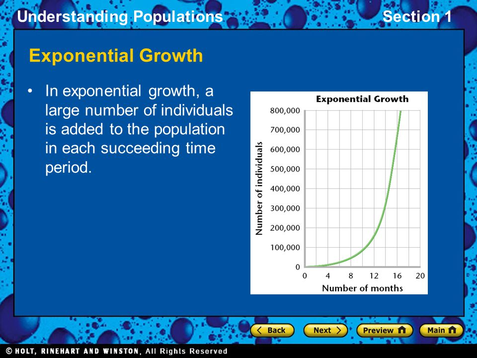 Understanding PopulationsSection 1 Exponential Growth In exponential growth, a large number of individuals is added to the population in each succeedi