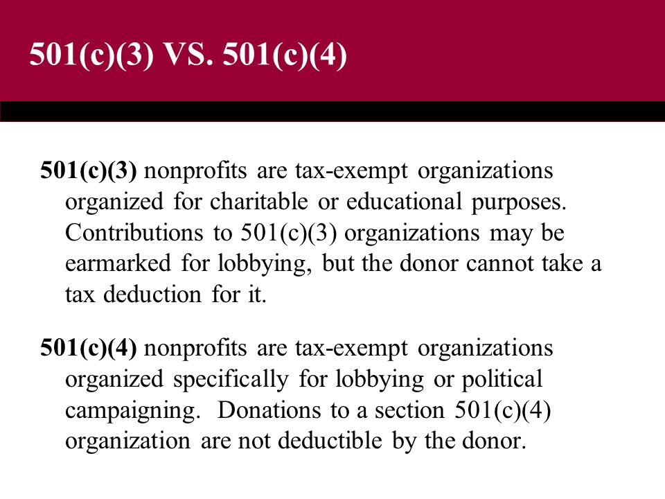 501(c)(3) VS. 501(c)(4) 501(c)(3) nonprofits are tax-exempt organizations organized for charitable or educational purposes. Contributions to 501(c)(3)