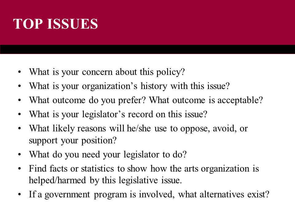TOP ISSUES What is your concern about this policy.