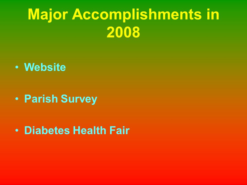 Major Accomplishments in 2008 Website Parish Survey Diabetes Health Fair