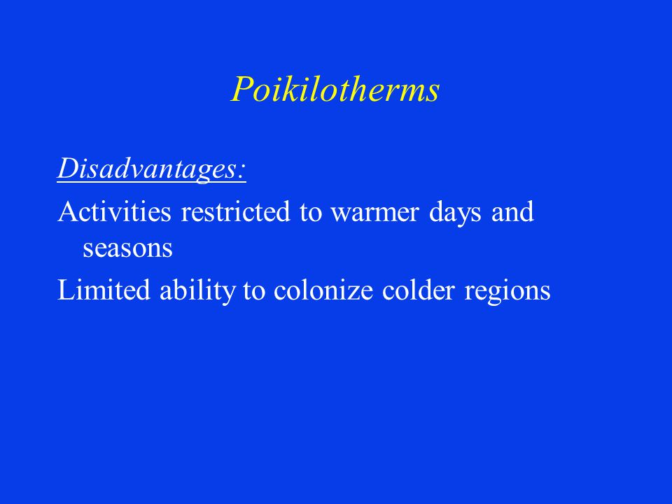 Poikilotherms Disadvantages: Activities restricted to warmer days and seasons Limited ability to colonize colder regions