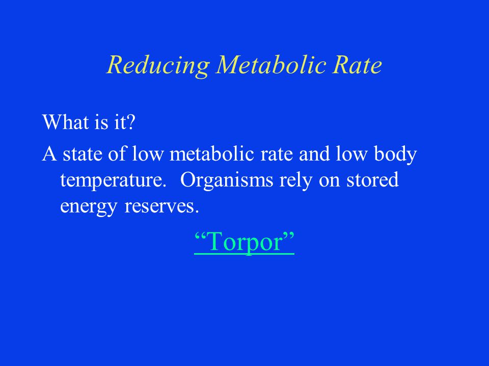 Reducing Metabolic Rate What is it. A state of low metabolic rate and low body temperature.