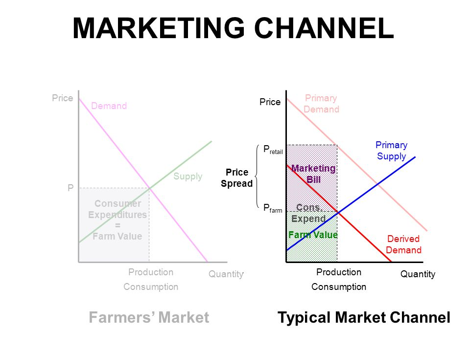 MARKETING CHANNEL Price Quantity P Production Consumption P retail Primary Demand Farmers' MarketTypical Market Channel Demand Supply P farm Production Consumption Primary Supply Derived Demand Consumer Expenditures = Farm Value Cons.