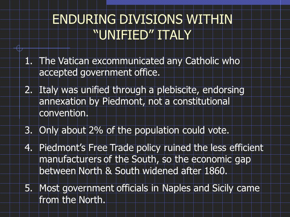 ENDURING DIVISIONS WITHIN UNIFIED ITALY 1.The Vatican excommunicated any Catholic who accepted government office.