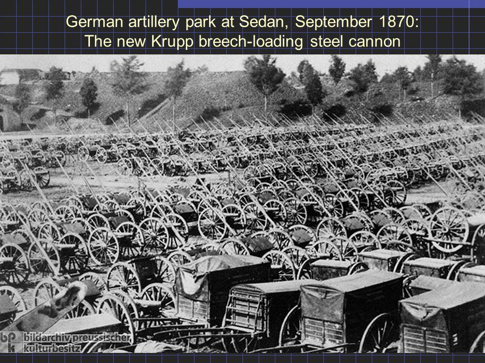 German artillery park at Sedan, September 1870: The new Krupp breech-loading steel cannon
