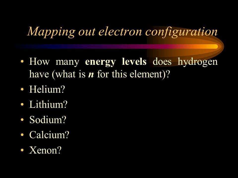 Mapping out electron configuration How many energy levels does hydrogen have (what is n for this element).