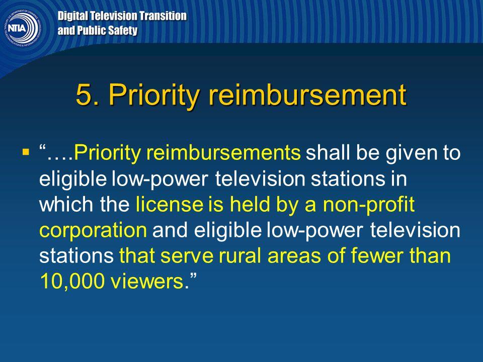 5. Priority reimbursement