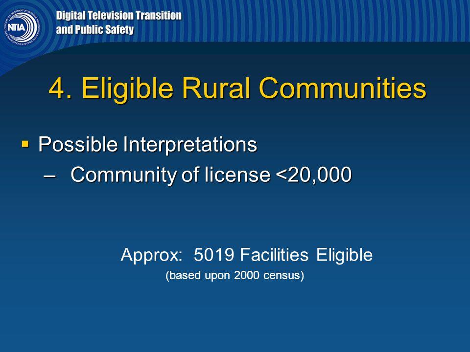 4. Eligible Rural Communities 4. Eligible Rural Communities  Possible Interpretations – Community of license <20,000 Approx: 5019 Facilities Eligible
