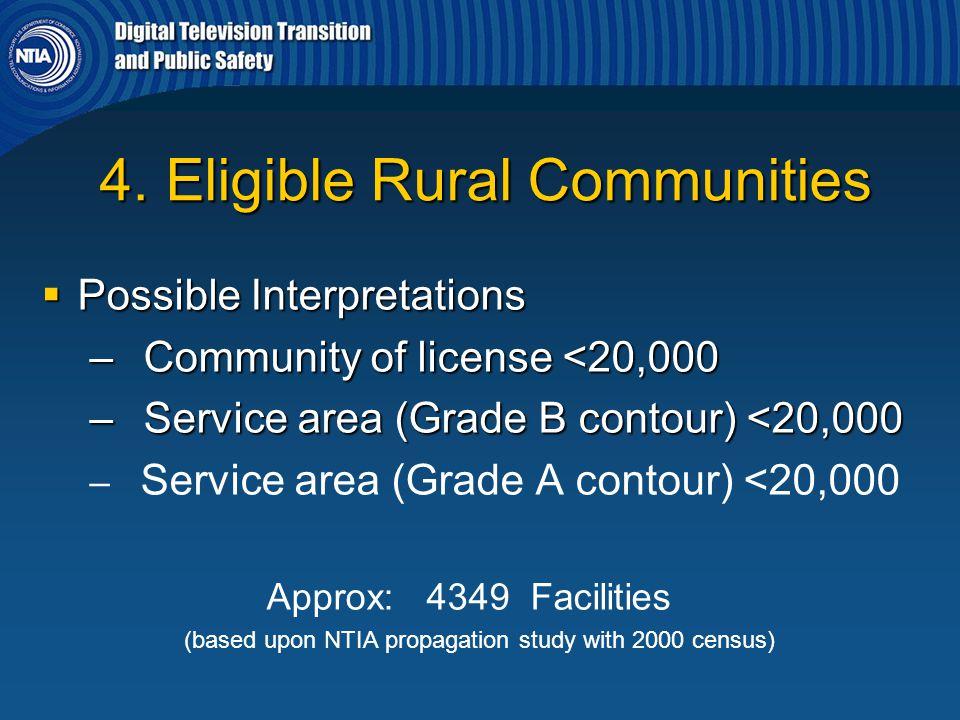 4. Eligible Rural Communities 4. Eligible Rural Communities  Possible Interpretations – Community of license <20,000 – Service area (Grade B contour)