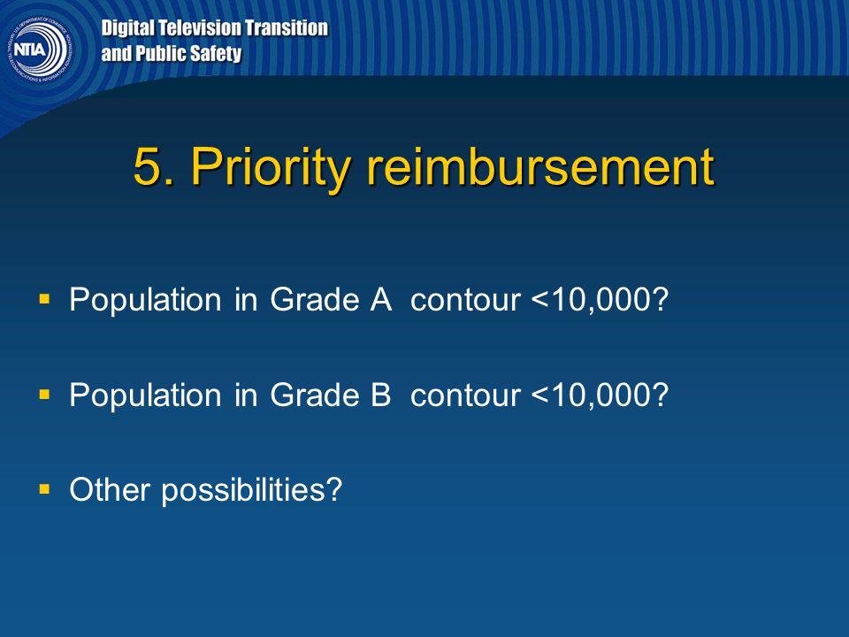 5. Priority reimbursement   Population in Grade A contour <10,000?   Population in Grade B contour <10,000?   Other possibilities?