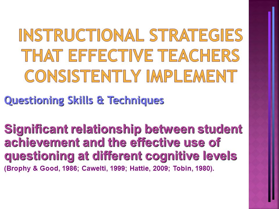 Questioning Skills & Techniques Significant relationship between student achievement and the effective use of questioning at different cognitive levels (Brophy & Good, 1986; Cawelti, 1999; Hattie, 2009; Tobin, 1980).