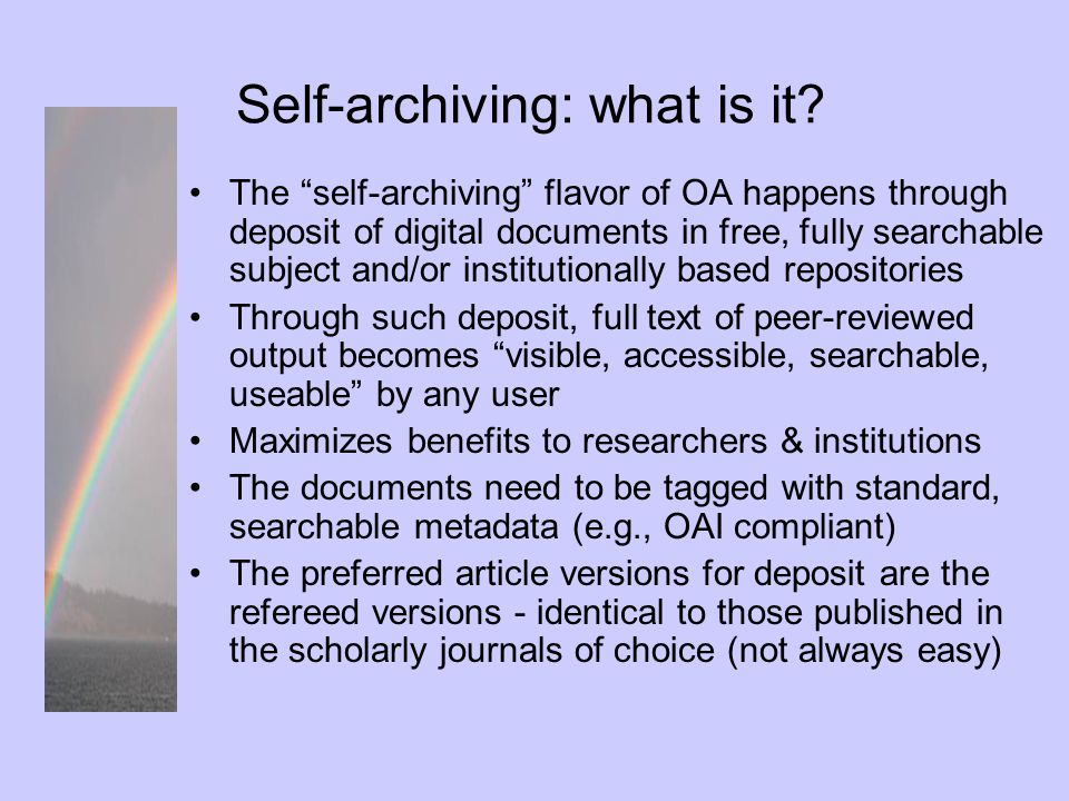 Self-archiving: what is it.