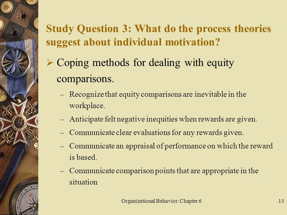 Organizational Behavior: Chapter 613 Study Question 3: What do the process theories suggest about individual motivation.