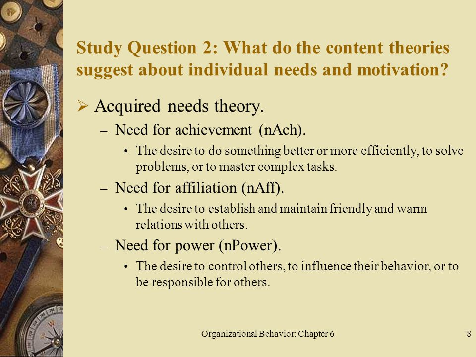 Organizational Behavior: Chapter 68 Study Question 2: What do the content theories suggest about individual needs and motivation.