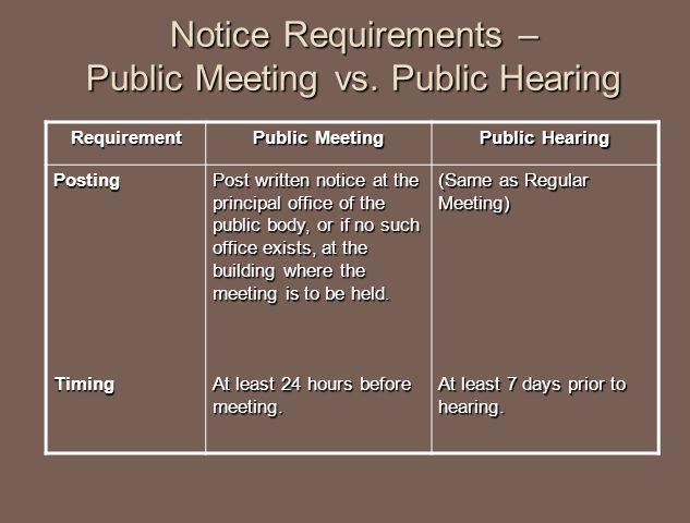 Notice Requirements – Public Meeting vs.