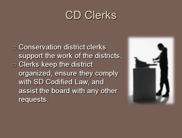 CD Clerks  Conservation district clerks support the work of the districts.  Clerks keep the district organized, ensure they comply with SD Codified
