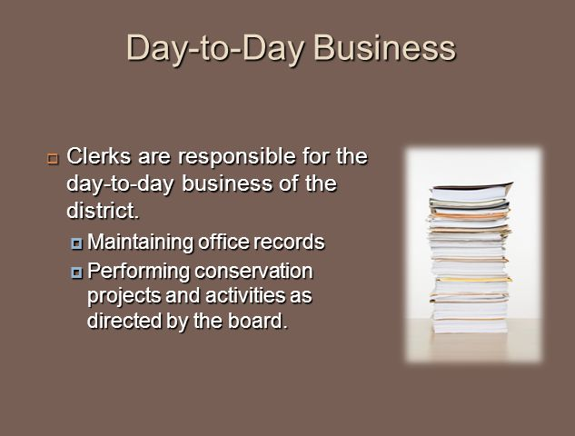 Day-to-Day Business  Clerks are responsible for the day-to-day business of the district.  Maintaining office records  Performing conservation proje