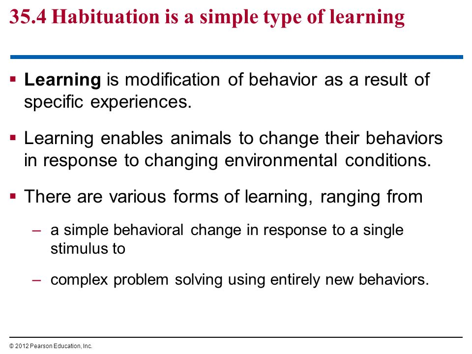 35.4 Habituation is a simple type of learning  Learning is modification of behavior as a result of specific experiences.