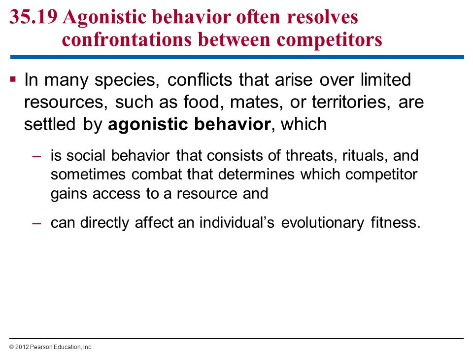 35.19 Agonistic behavior often resolves confrontations between competitors  In many species, conflicts that arise over limited resources, such as food, mates, or territories, are settled by agonistic behavior, which –is social behavior that consists of threats, rituals, and sometimes combat that determines which competitor gains access to a resource and –can directly affect an individual's evolutionary fitness.