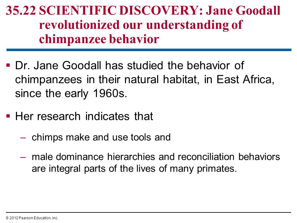 35.22 SCIENTIFIC DISCOVERY: Jane Goodall revolutionized our understanding of chimpanzee behavior  Dr. Jane Goodall has studied the behavior of chimpa