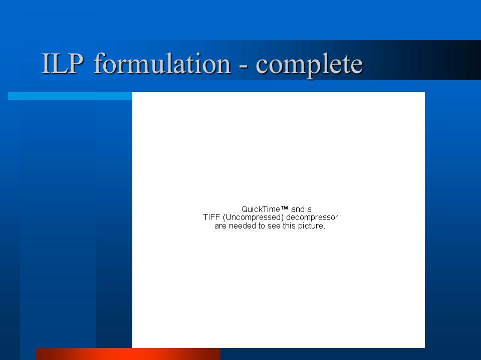 ILP formulation - complete