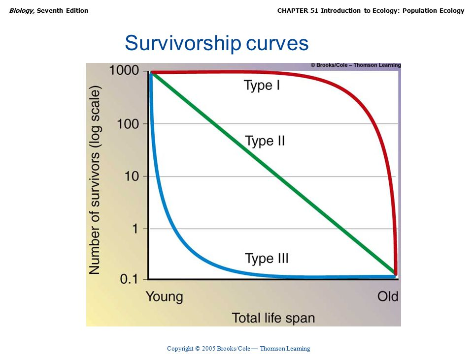 Copyright © 2005 Brooks/Cole — Thomson Learning Biology, Seventh EditionCHAPTER 51 Introduction to Ecology: Population Ecology Survivorship curves