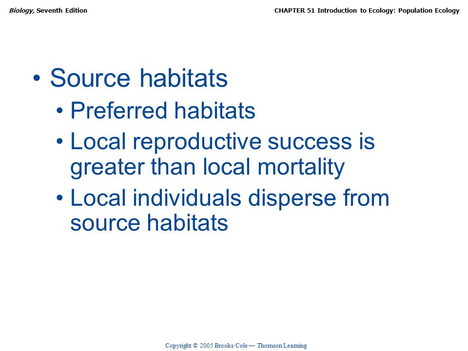 Copyright © 2005 Brooks/Cole — Thomson Learning Biology, Seventh EditionCHAPTER 51 Introduction to Ecology: Population Ecology Source habitats Preferred habitats Local reproductive success is greater than local mortality Local individuals disperse from source habitats