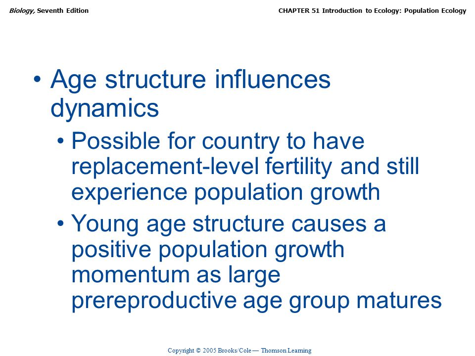 Copyright © 2005 Brooks/Cole — Thomson Learning Biology, Seventh EditionCHAPTER 51 Introduction to Ecology: Population Ecology Age structure influences dynamics Possible for country to have replacement-level fertility and still experience population growth Young age structure causes a positive population growth momentum as large prereproductive age group matures