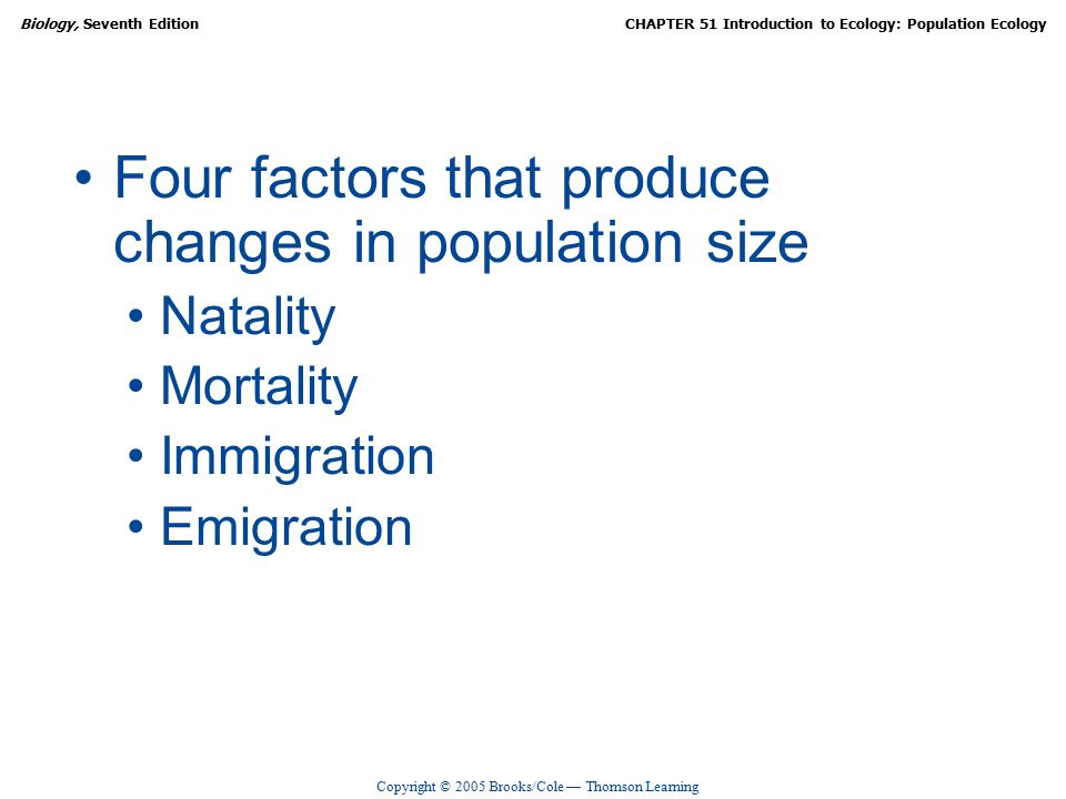 Copyright © 2005 Brooks/Cole — Thomson Learning Biology, Seventh EditionCHAPTER 51 Introduction to Ecology: Population Ecology Four factors that produce changes in population size Natality Mortality Immigration Emigration