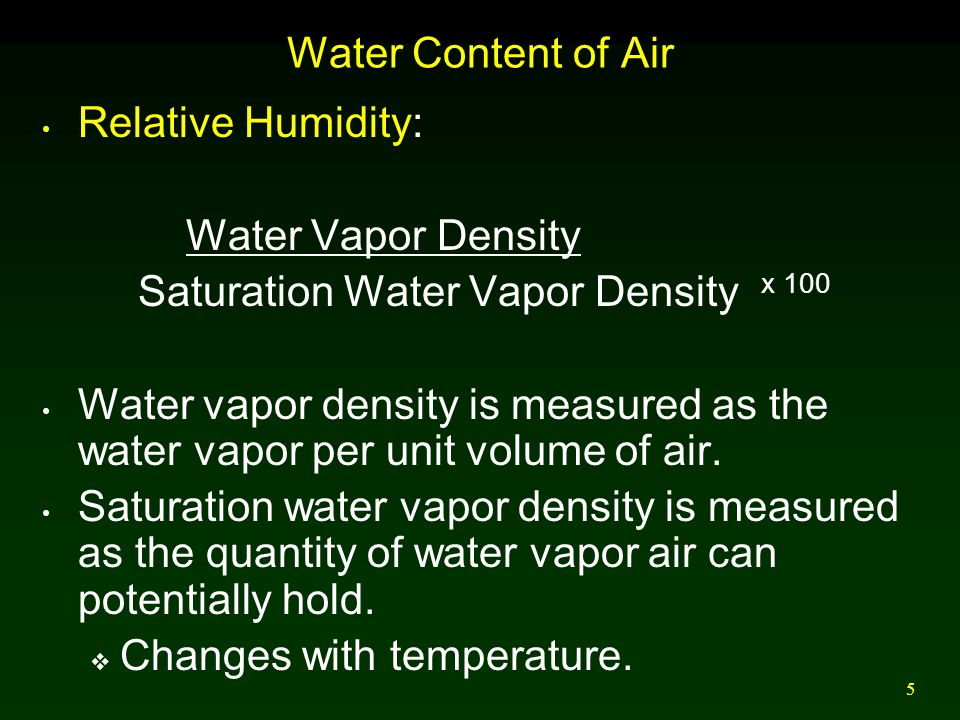 5 Water Content of Air Relative Humidity: Water Vapor Density Saturation Water Vapor Density x 100 Water vapor density is measured as the water vapor per unit volume of air.