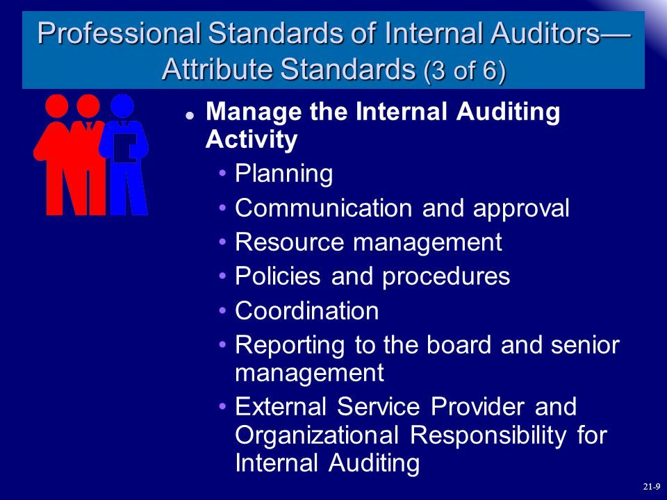 Professional Standards of Internal Auditors— Attribute Standards (3 of 6) Manage the Internal Auditing Activity Planning Communication and approval Re