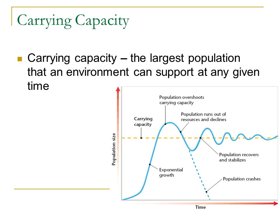 Carrying Capacity Carrying capacity – the largest population that an environment can support at any given time