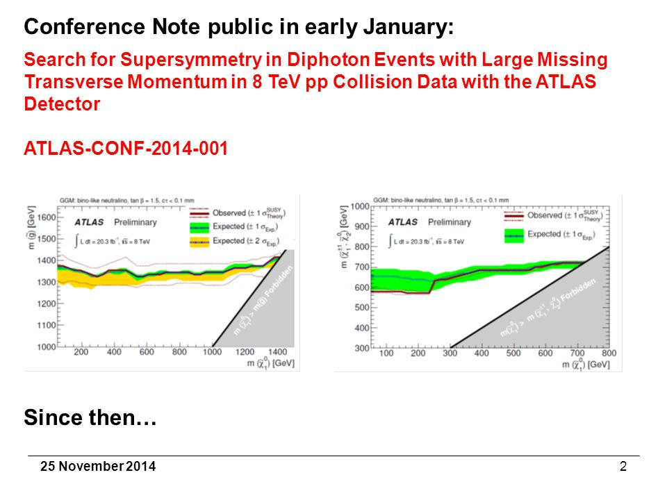 25 November 20142 Conference Note public in early January: Search for Supersymmetry in Diphoton Events with Large Missing Transverse Momentum in 8 TeV pp Collision Data with the ATLAS Detector ATLAS-CONF-2014-001 Since then…
