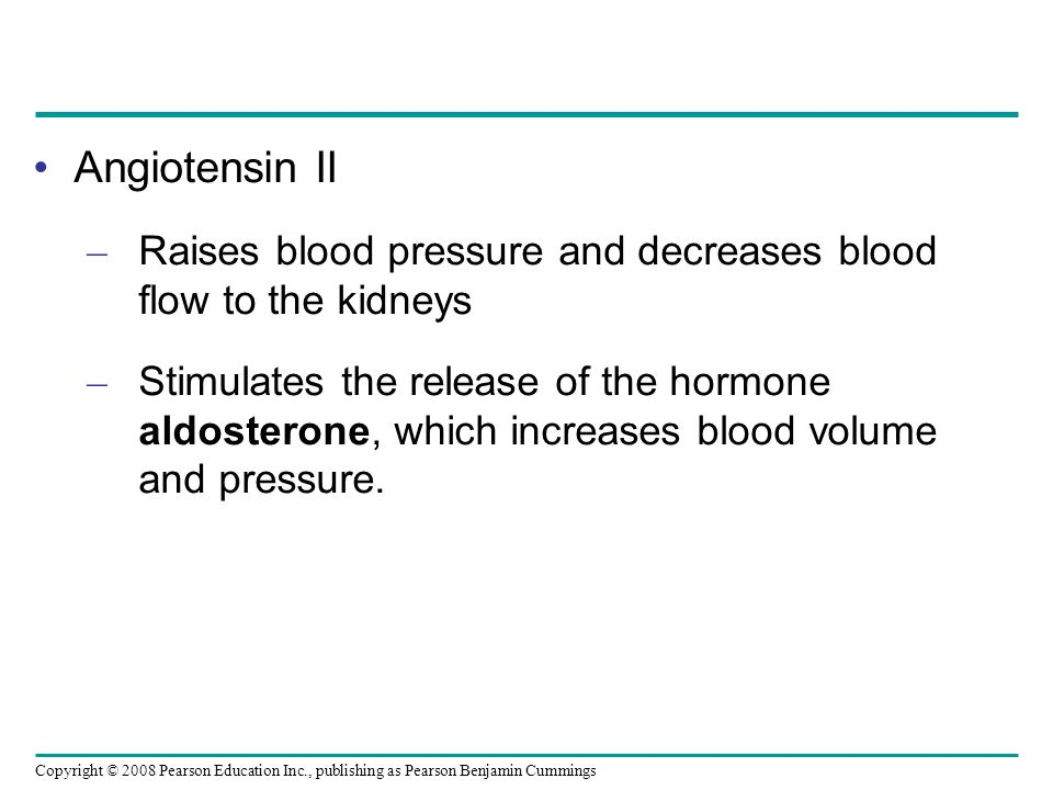 Regulation of blood volume and pressure by RAAS The Renin- Angiotensin- Aldosterone System Renin Distal tubule Juxtaglomerular apparatus (JGA) STIMULUS: Low blood volume or low blood pressure Homeostasis: Blood pressure, volume Liver Angiotensinogen Angiotensin I ACE Angiotensin II Adrenal gland Aldosteron e Arteriole constriction Increased Na + and H 2 O reab- sorption in distal tubules