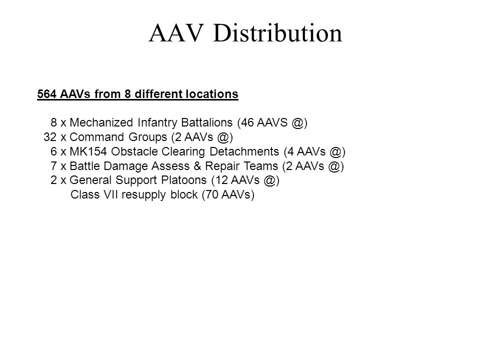 AAV Distribution 564 AAVs from 8 different locations 8 x Mechanized Infantry Battalions (46 AAVS @) 32 x Command Groups (2 AAVs @) 6 x MK154 Obstacle Clearing Detachments (4 AAVs @) 7 x Battle Damage Assess & Repair Teams (2 AAVs @) 2 x General Support Platoons (12 AAVs @) Class VII resupply block (70 AAVs)