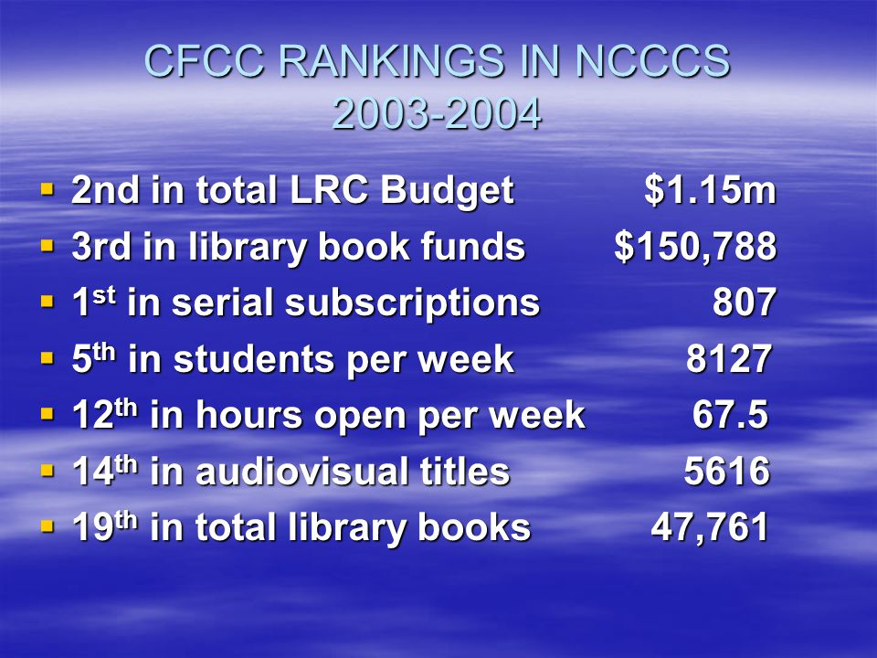 CFCC RANKINGS IN NCCCS 2003-2004  2nd in total LRC Budget $1.15m  3rd in library book funds $150,788  1 st in serial subscriptions 807  5 th in students per week 8127  12 th in hours open per week 67.5  14 th in audiovisual titles 5616  19 th in total library books 47,761