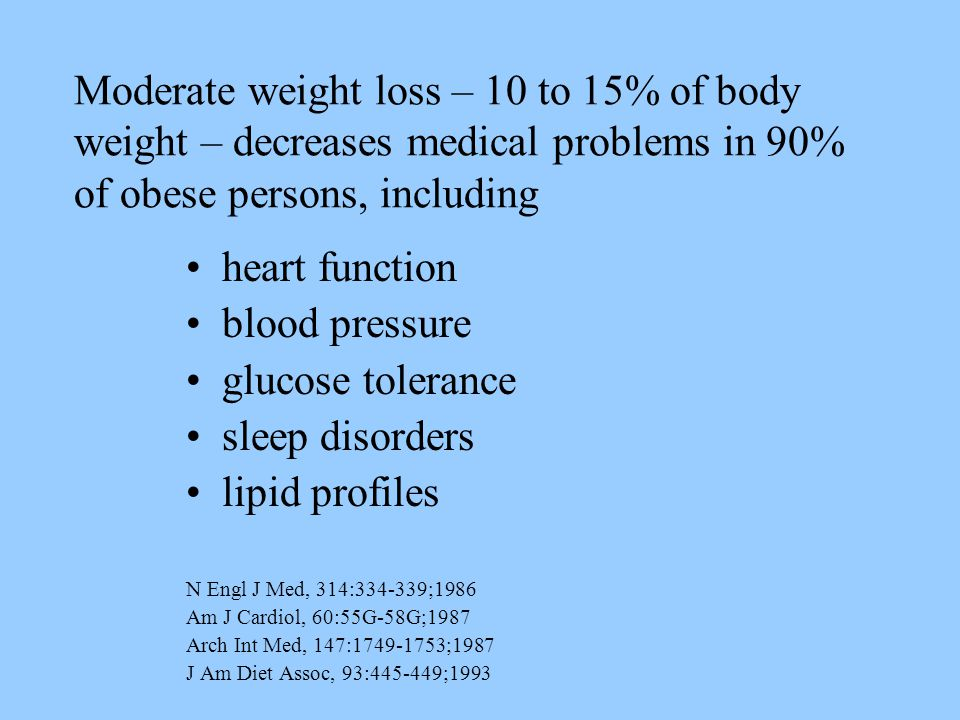 Moderate weight loss – 10 to 15% of body weight – decreases medical problems in 90% of obese persons, including heart function blood pressure glucose tolerance sleep disorders lipid profiles N Engl J Med, 314:334-339;1986 Am J Cardiol, 60:55G-58G;1987 Arch Int Med, 147:1749-1753;1987 J Am Diet Assoc, 93:445-449;1993