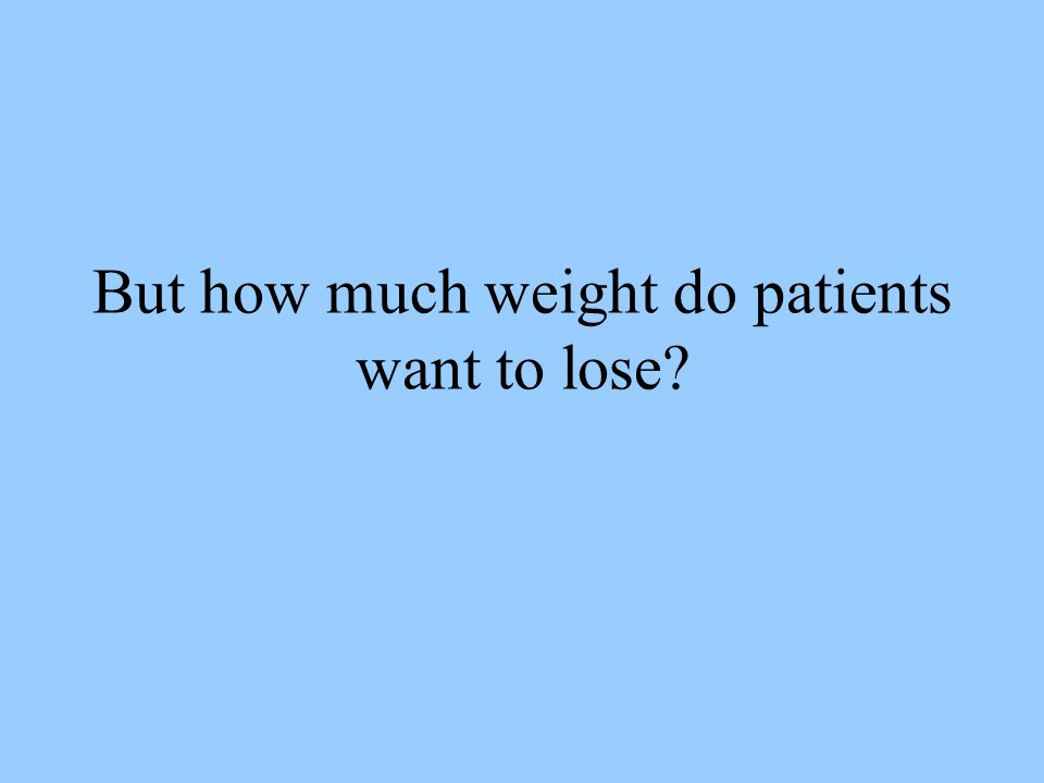 But how much weight do patients want to lose