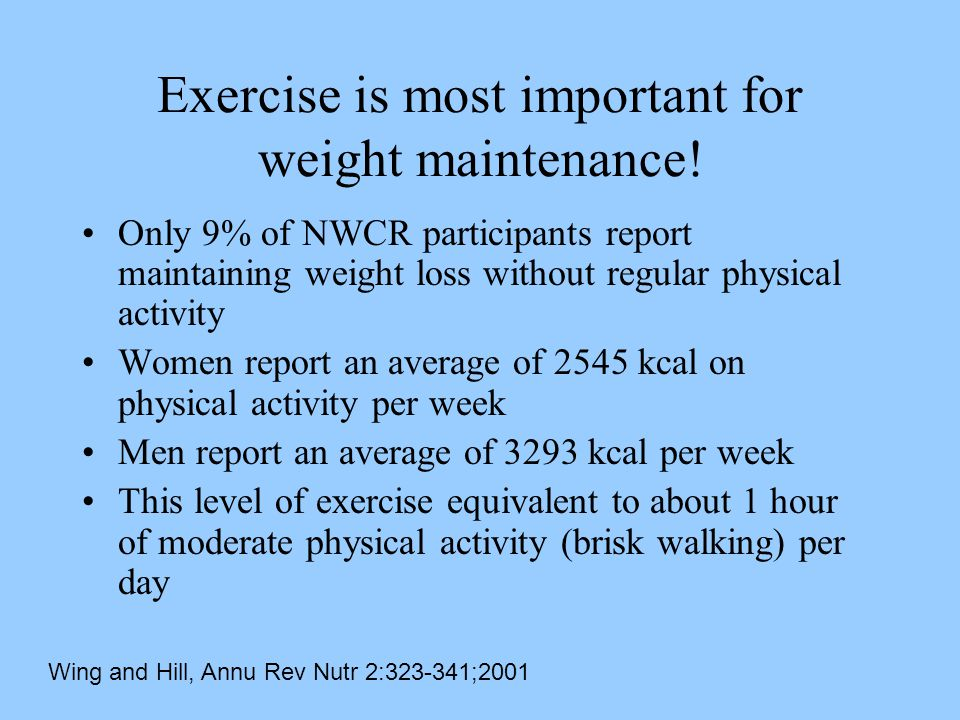 Exercise is most important for weight maintenance.