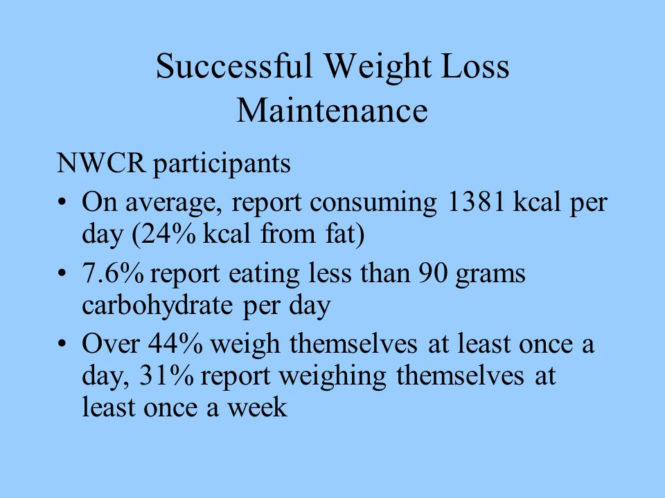 Successful Weight Loss Maintenance NWCR participants On average, report consuming 1381 kcal per day (24% kcal from fat) 7.6% report eating less than 90 grams carbohydrate per day Over 44% weigh themselves at least once a day, 31% report weighing themselves at least once a week