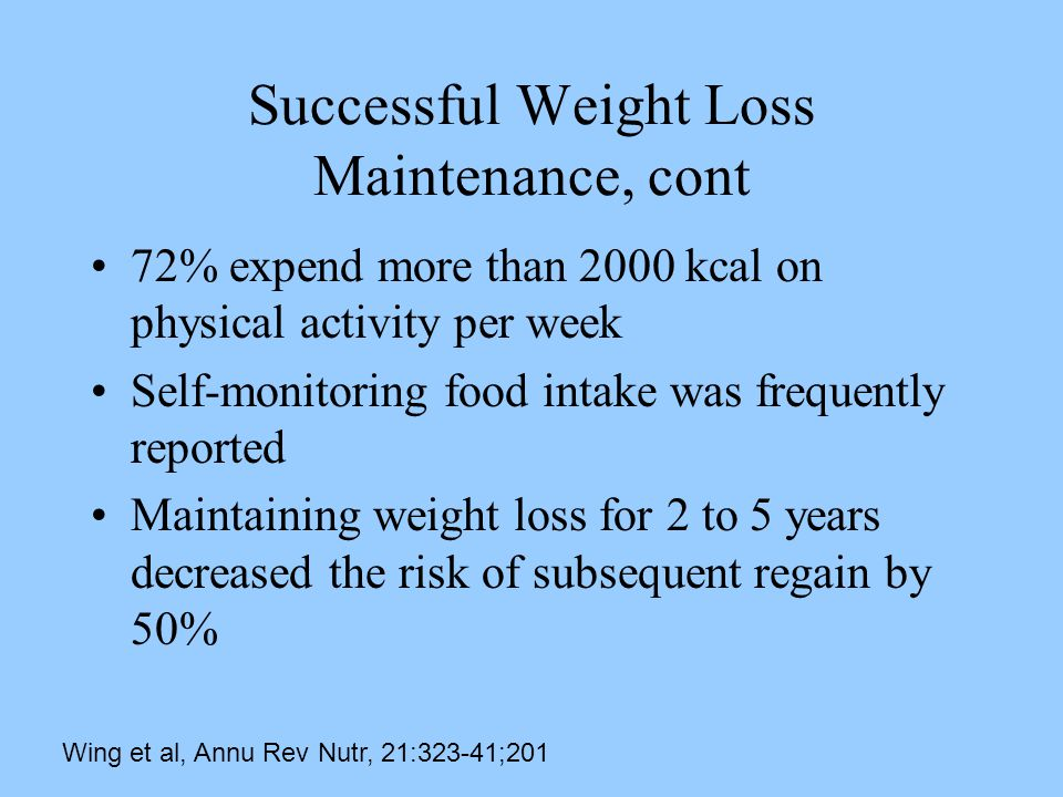 Successful Weight Loss Maintenance, cont 72% expend more than 2000 kcal on physical activity per week Self-monitoring food intake was frequently reported Maintaining weight loss for 2 to 5 years decreased the risk of subsequent regain by 50% Wing et al, Annu Rev Nutr, 21:323-41;201