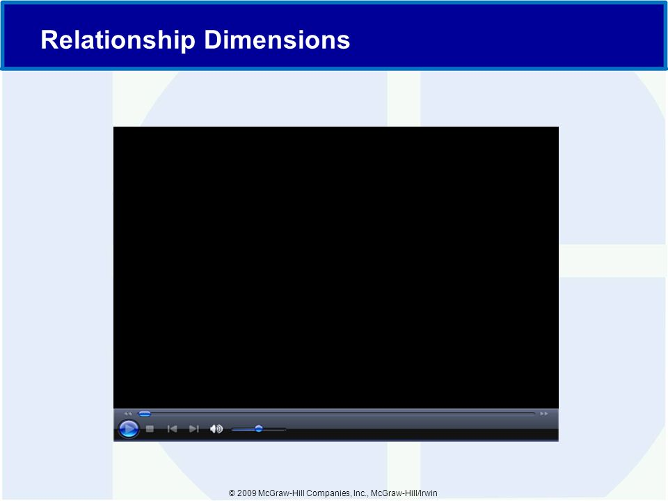 © 2009 McGraw-Hill Companies, Inc., McGraw-Hill/Irwin Relationship Dimensions