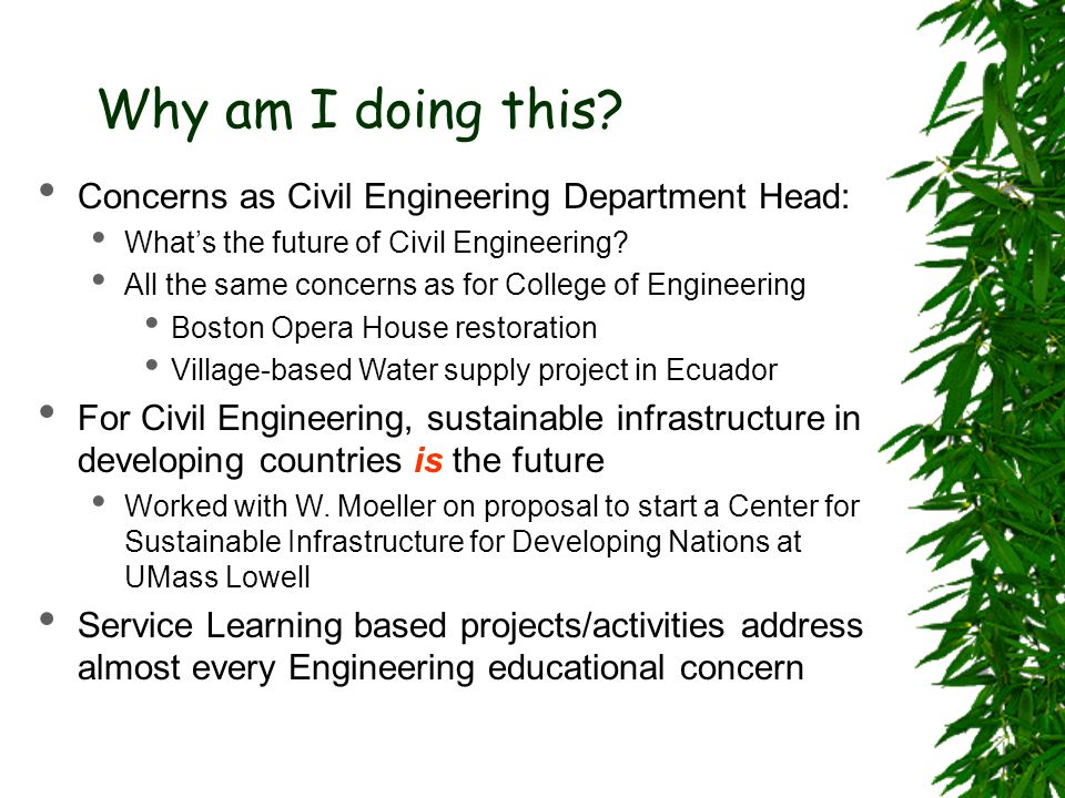 Why am I doing this? Concerns as Civil Engineering Department Head: What's the future of Civil Engineering? All the same concerns as for College of En