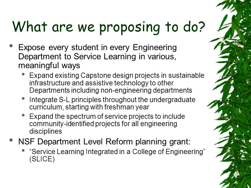 What are we proposing to do? Expose every student in every Engineering Department to Service Learning in various, meaningful ways Expand existing Caps