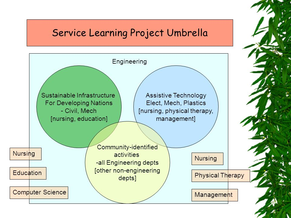 Sustainable Infrastructure For Developing Nations - Civil, Mech [nursing, education] Assistive Technology Elect, Mech, Plastics [nursing, physical therapy, management] Community-identified activities -all Engineering depts [other non-engineering depts] Service Learning Project Umbrella Engineering Nursing Physical Therapy Education Management Computer Science