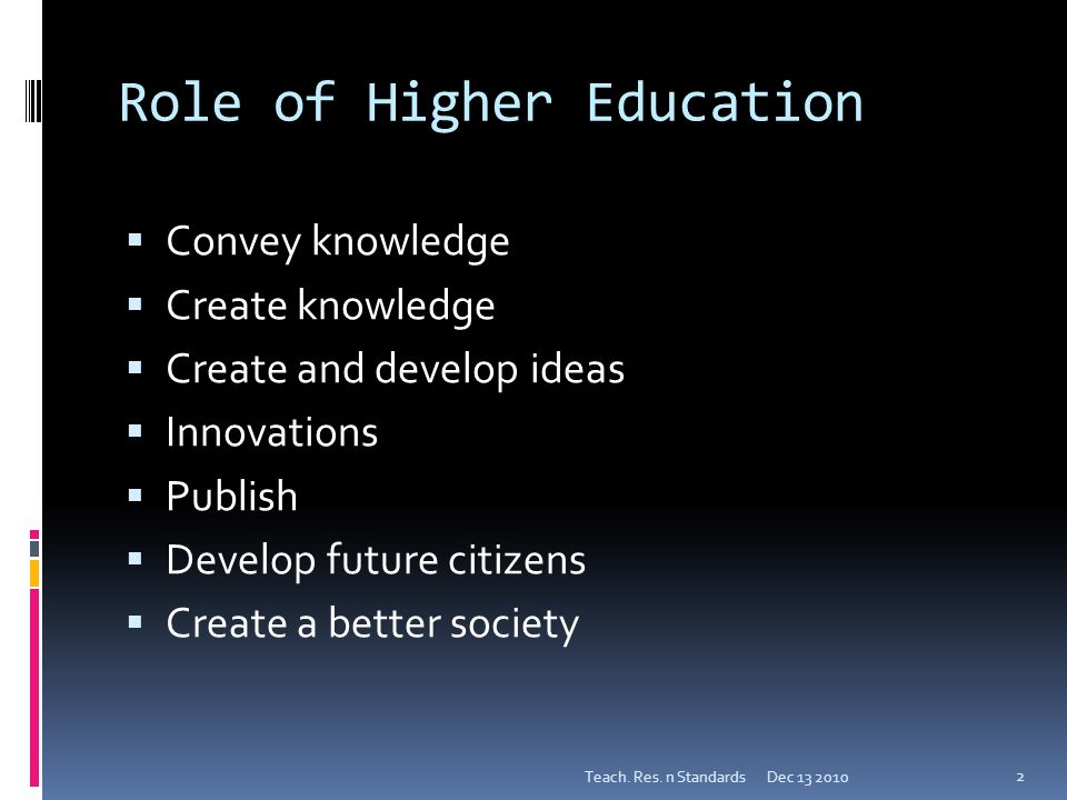 Role of Higher Education  Convey knowledge  Create knowledge  Create and develop ideas  Innovations  Publish  Develop future citizens  Create a better society Dec 13 2010Teach.