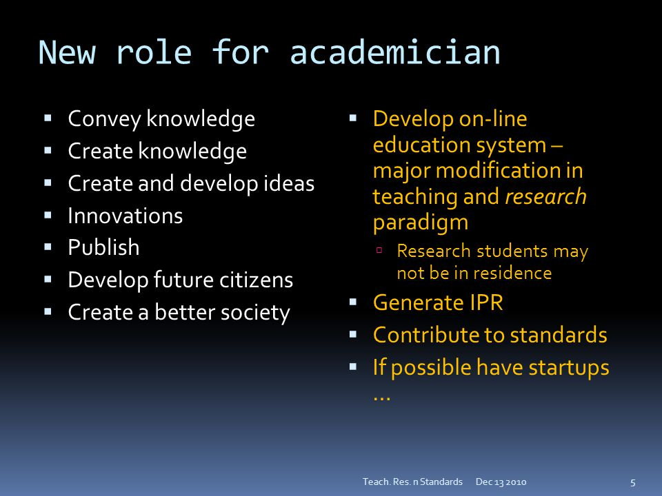 New role for academician  Convey knowledge  Create knowledge  Create and develop ideas  Innovations  Publish  Develop future citizens  Create a better society  Develop on-line education system – major modification in teaching and research paradigm  Research students may not be in residence  Generate IPR  Contribute to standards  If possible have startups … Dec 13 2010Teach.