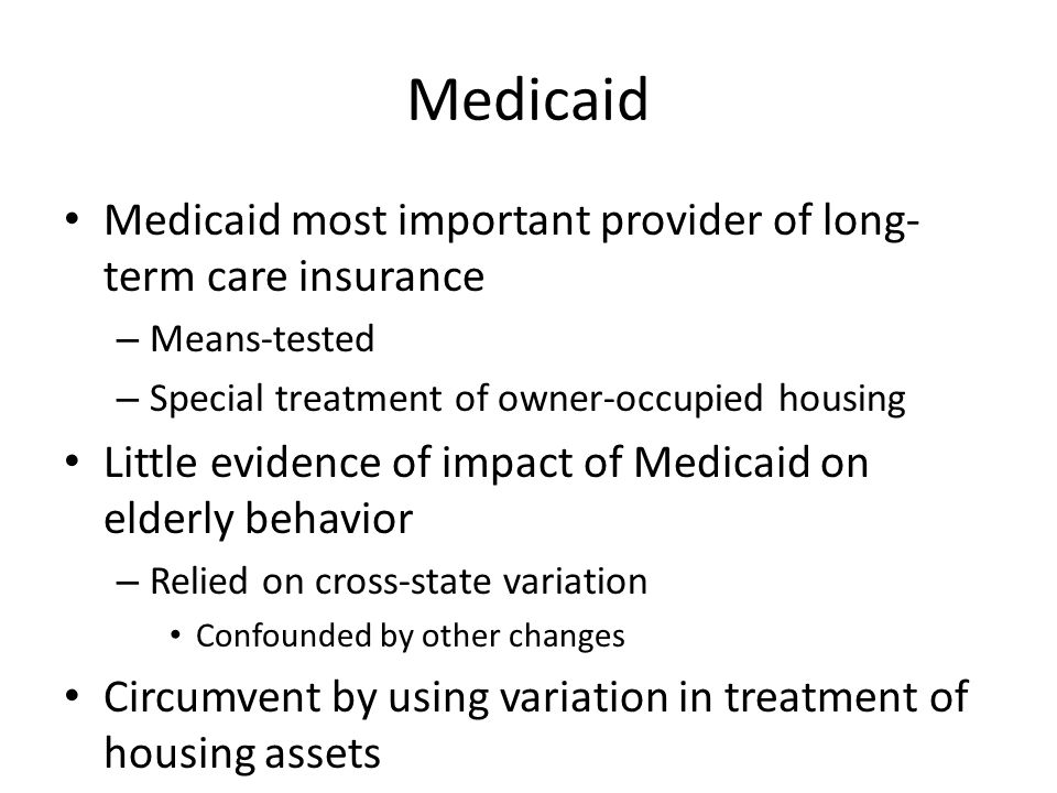 Past Literature While Medicaid is largest provider of long- term-care insurance – Little empirical evidence on impact of means- testing Medicaid on housing behavior See Norton (2000) for overview Relied on cross-state variation – Confounded by other changes