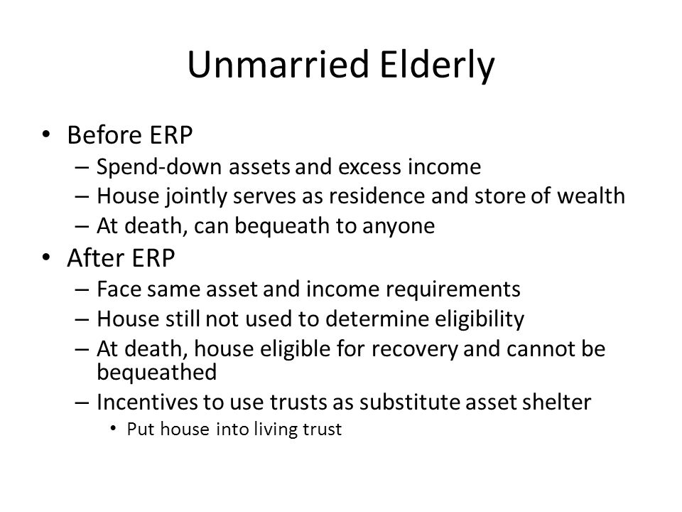 Trust Participation at Death With Housing Price Index – Unmarried*ERP: Increase by 10.2% – Unmarried*TEFRA: Increase by 46.5% With Medicaid generosity – Unmarried*ERP: Increase by 9.5% – Unmarried*TEFRA: Increase by 46.5% With linear State-by-time trends – Unmarried*ERP: Increase by 8.3% – Unmarried*TEFRA: Increase by 36.9%